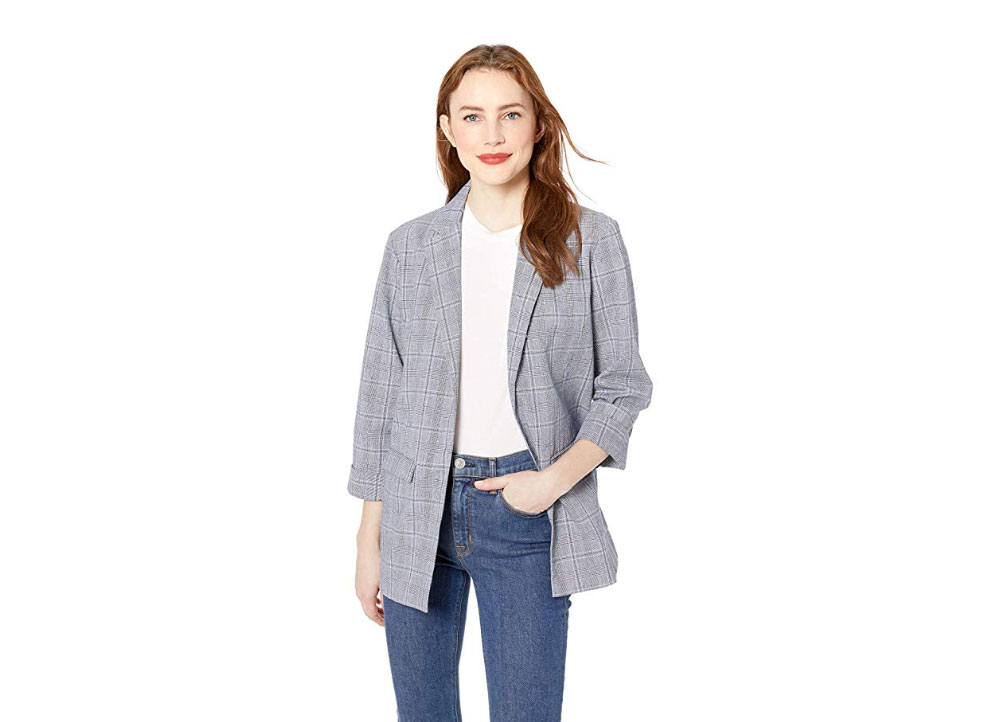 Cupcakes and Cashmere Wheeler Linen Plaid Boyfriend Blazer