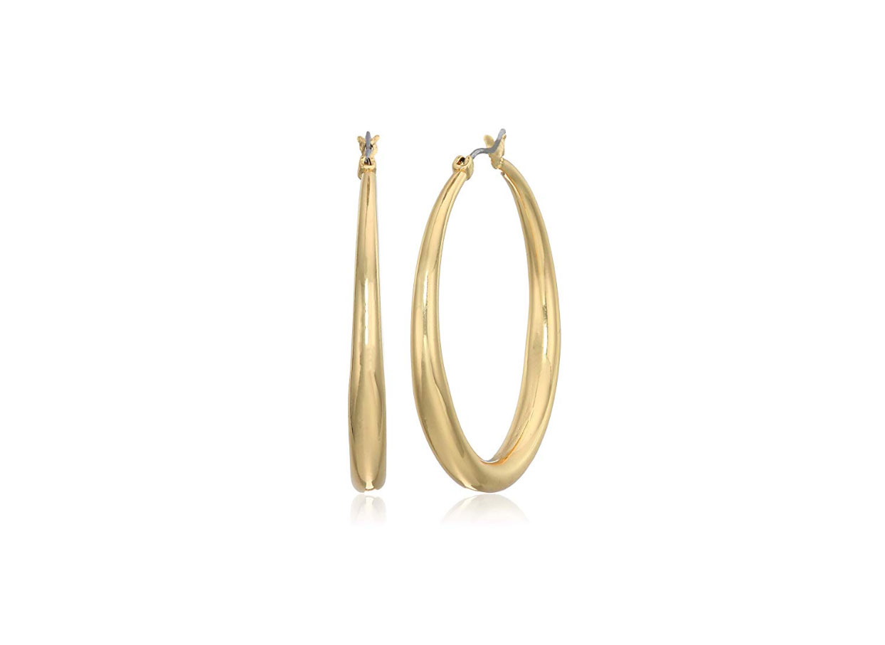 Anne Klein Gold Medium Tapered Hoop Earrings