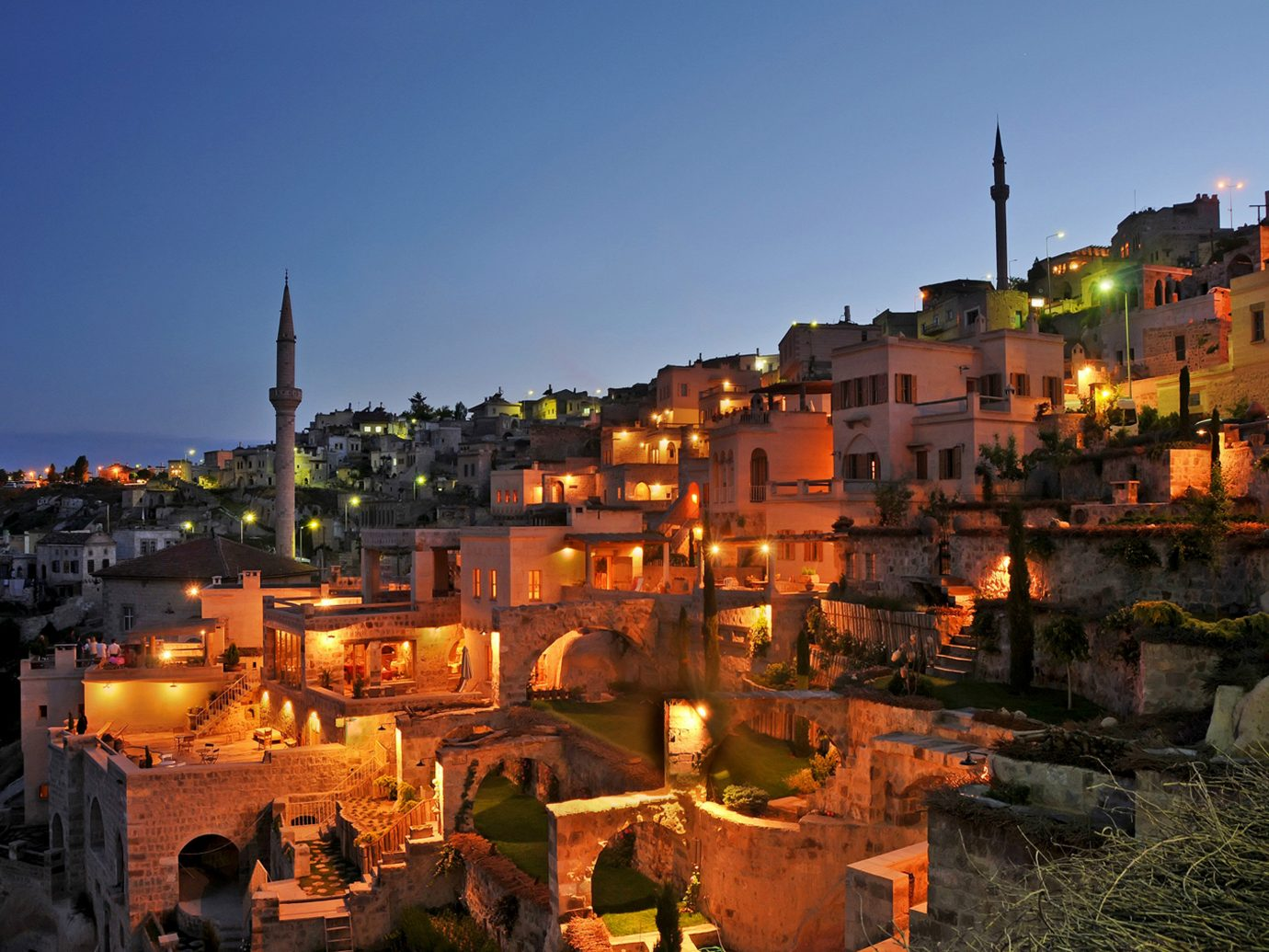 Argos in Cappadocia night shot with lit up buildings