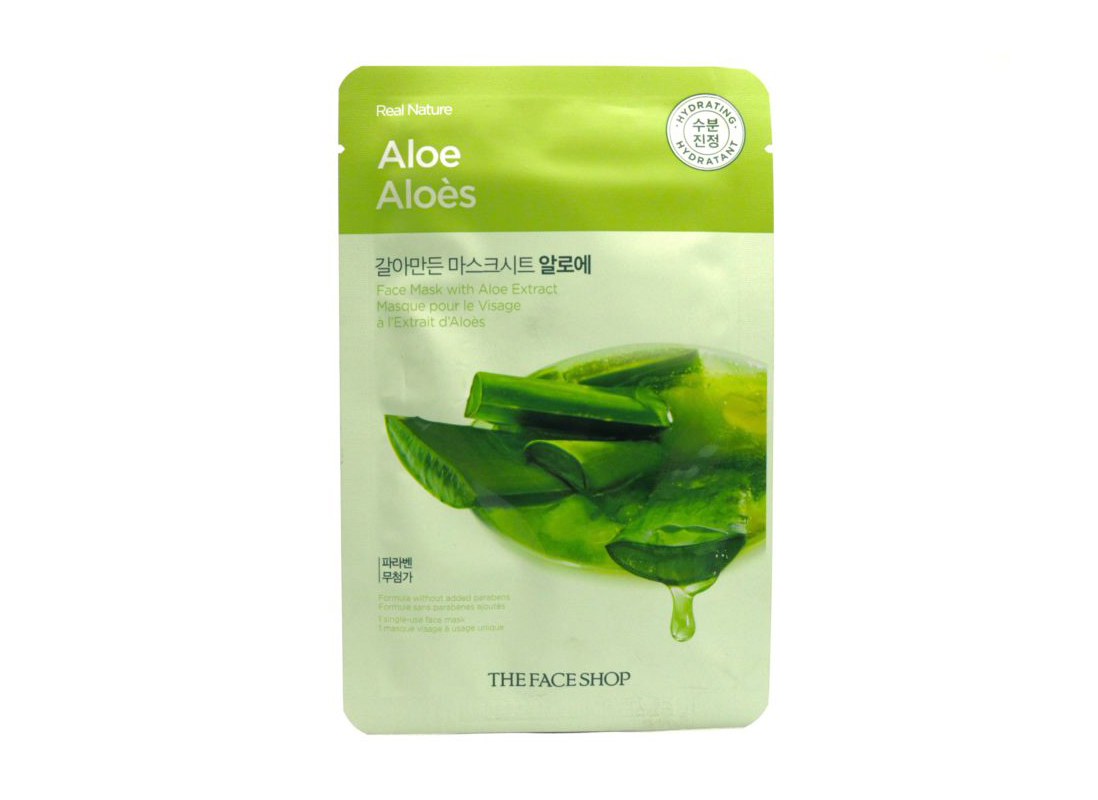The Face Shop Real Nature Aloe Mask, sheet masks for sunburns