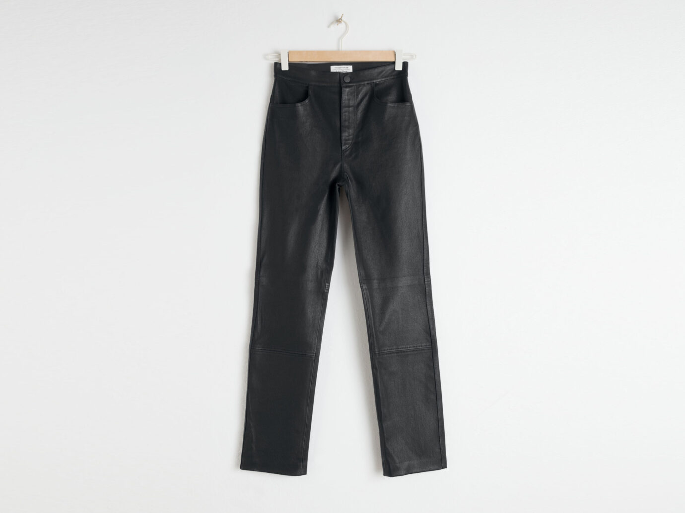 & Other Stories High Waisted Leather Pants