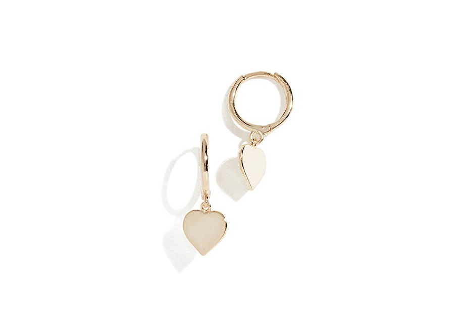 gold heart Shashi Candice Huggie Earrings on sale