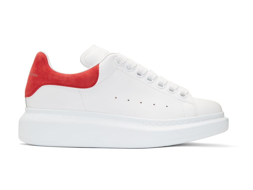 lexander McQueen White & Red Oversized Sneakers