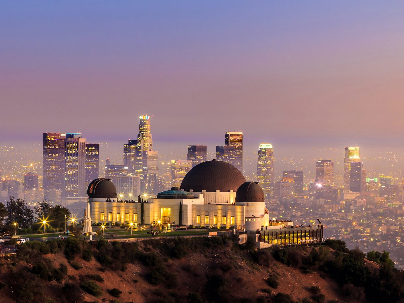view of Griffith Observatory at sunset