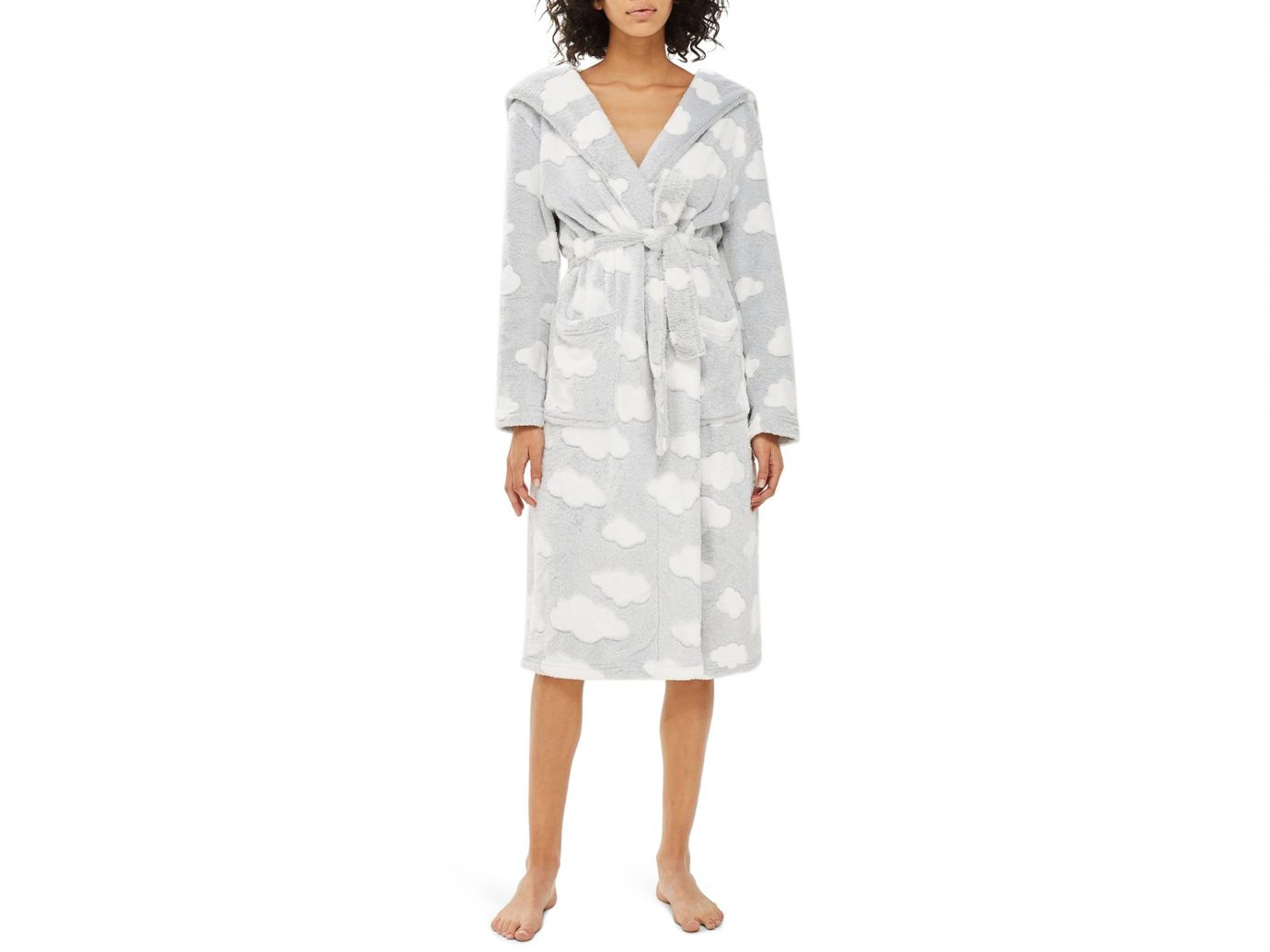 Robe: Topshop Cloud Print Longline Fleece Robe