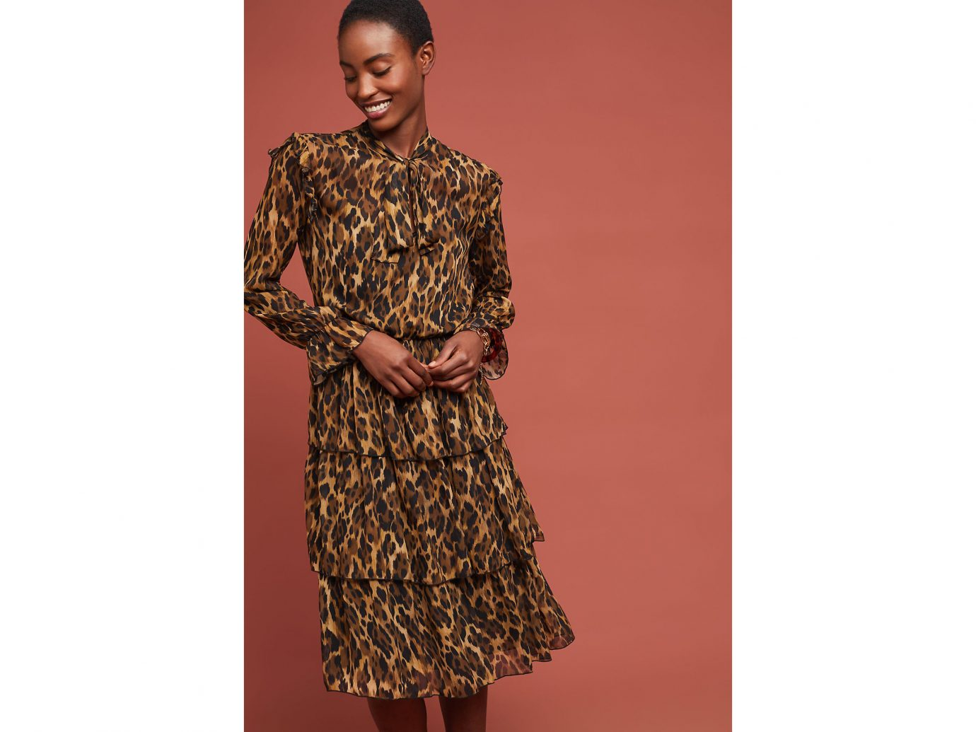 Anthropologie Tiered Leopard Dress