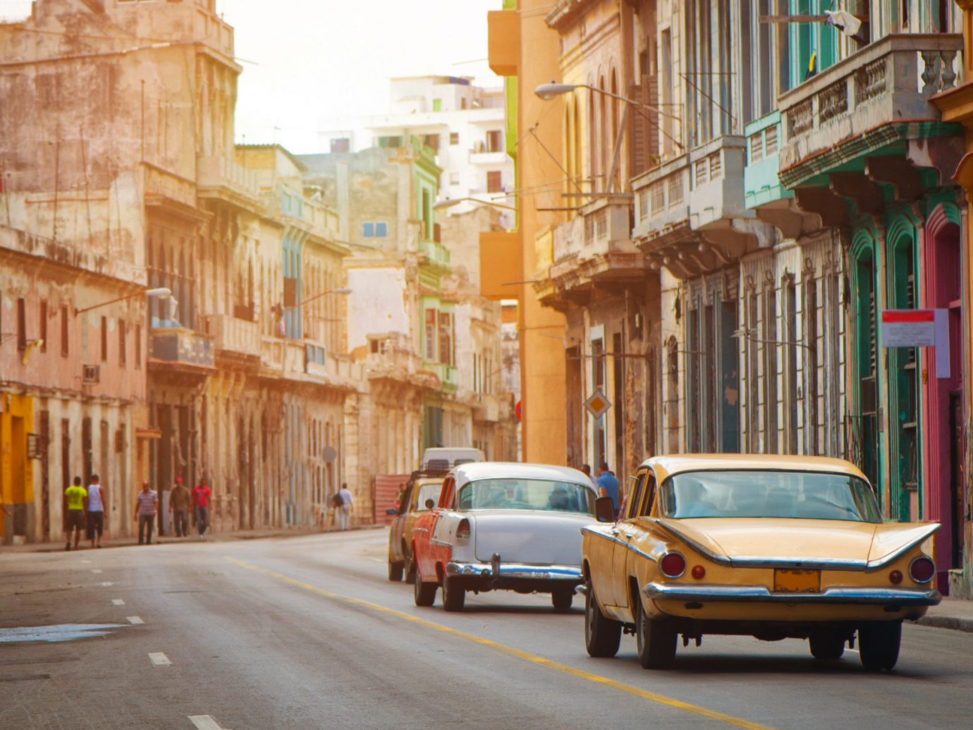 Colorful old cars on the street in Havana