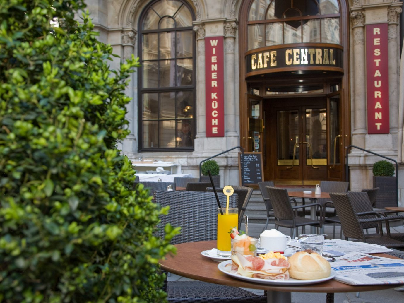 Outside breakfast at Cafe Central in Vienna