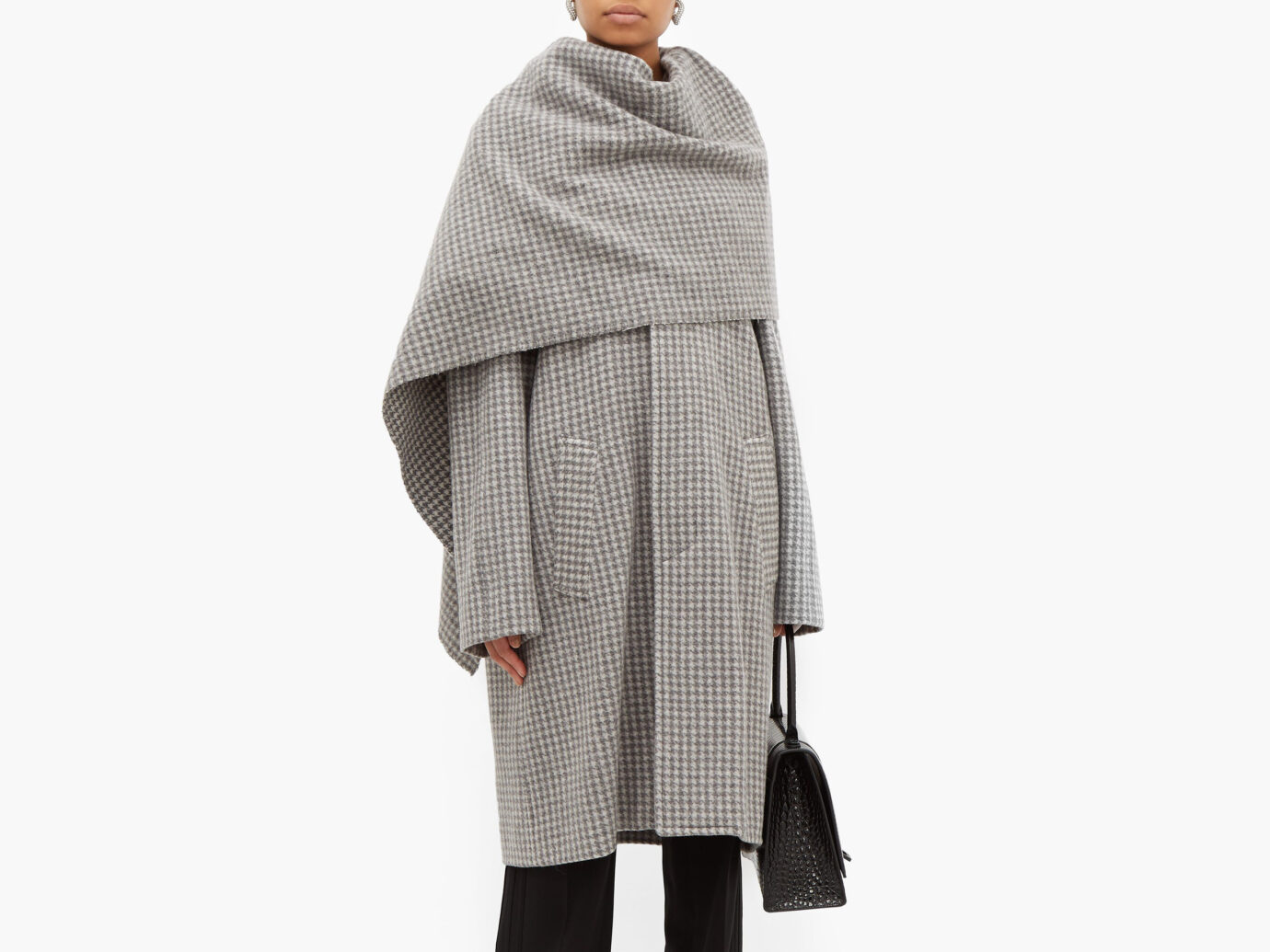 Balenciaga Draped-scarf houndstooth-wool coat