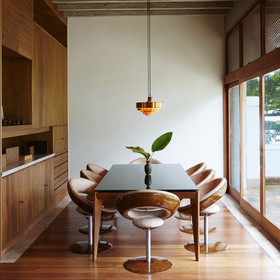 Dining room with plant on table and light on hanging with natural lighting