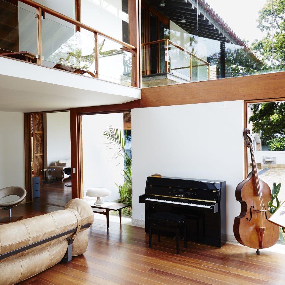 Piano and violin with open window views