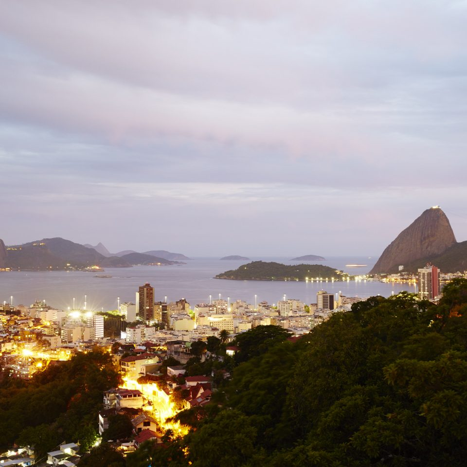 Dusk view of Rio and mountainous islands