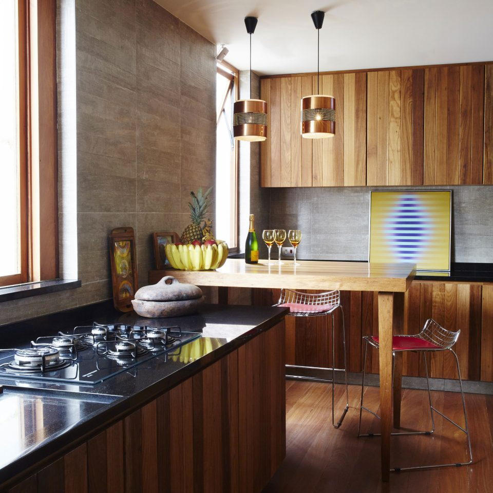 Countertop and wooden kitchen table