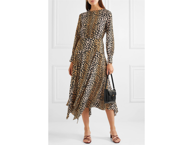 RIXO Elsa Leopard-Print Dress