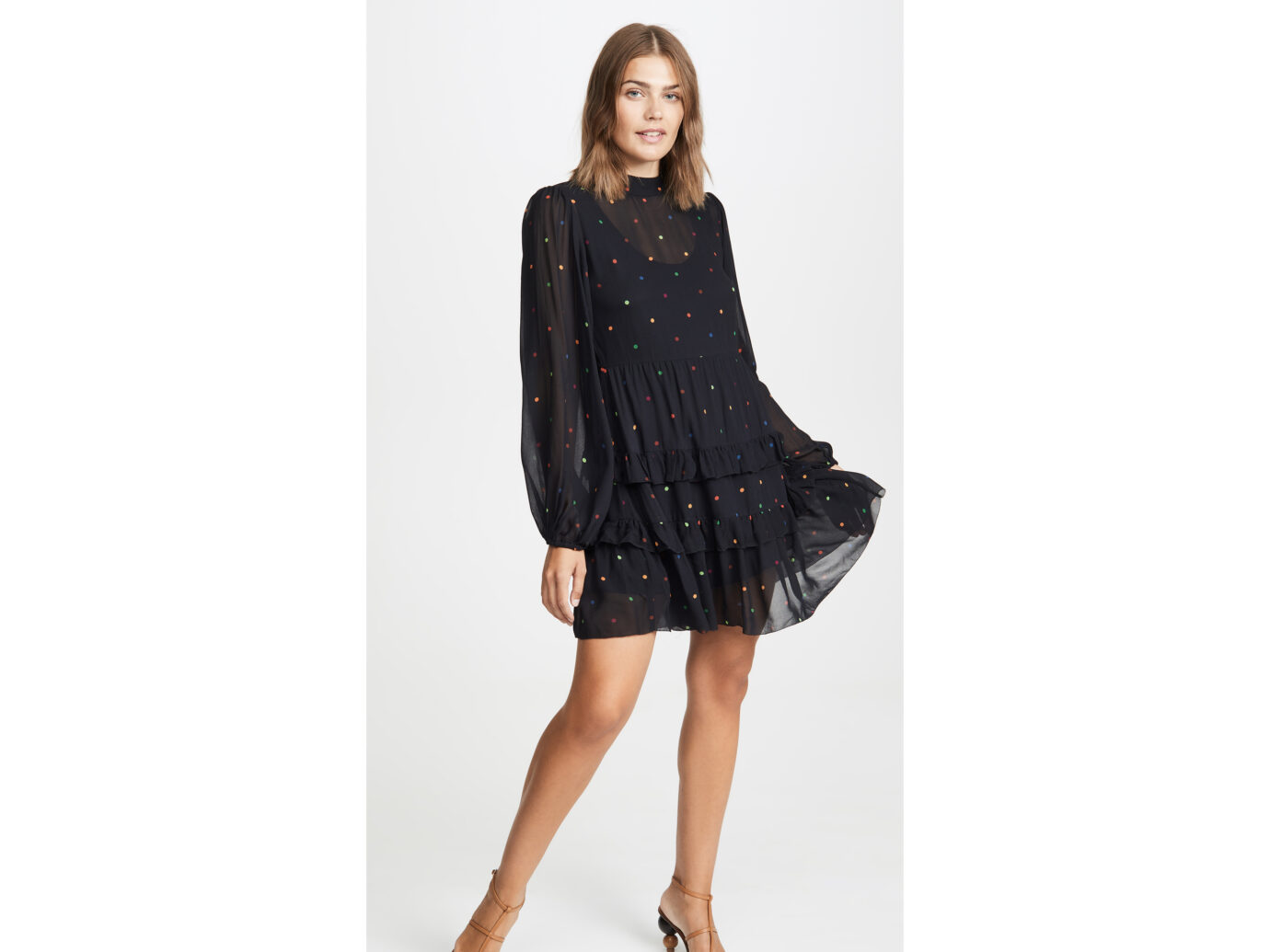 FARM Rio Black Dots Mini Dress