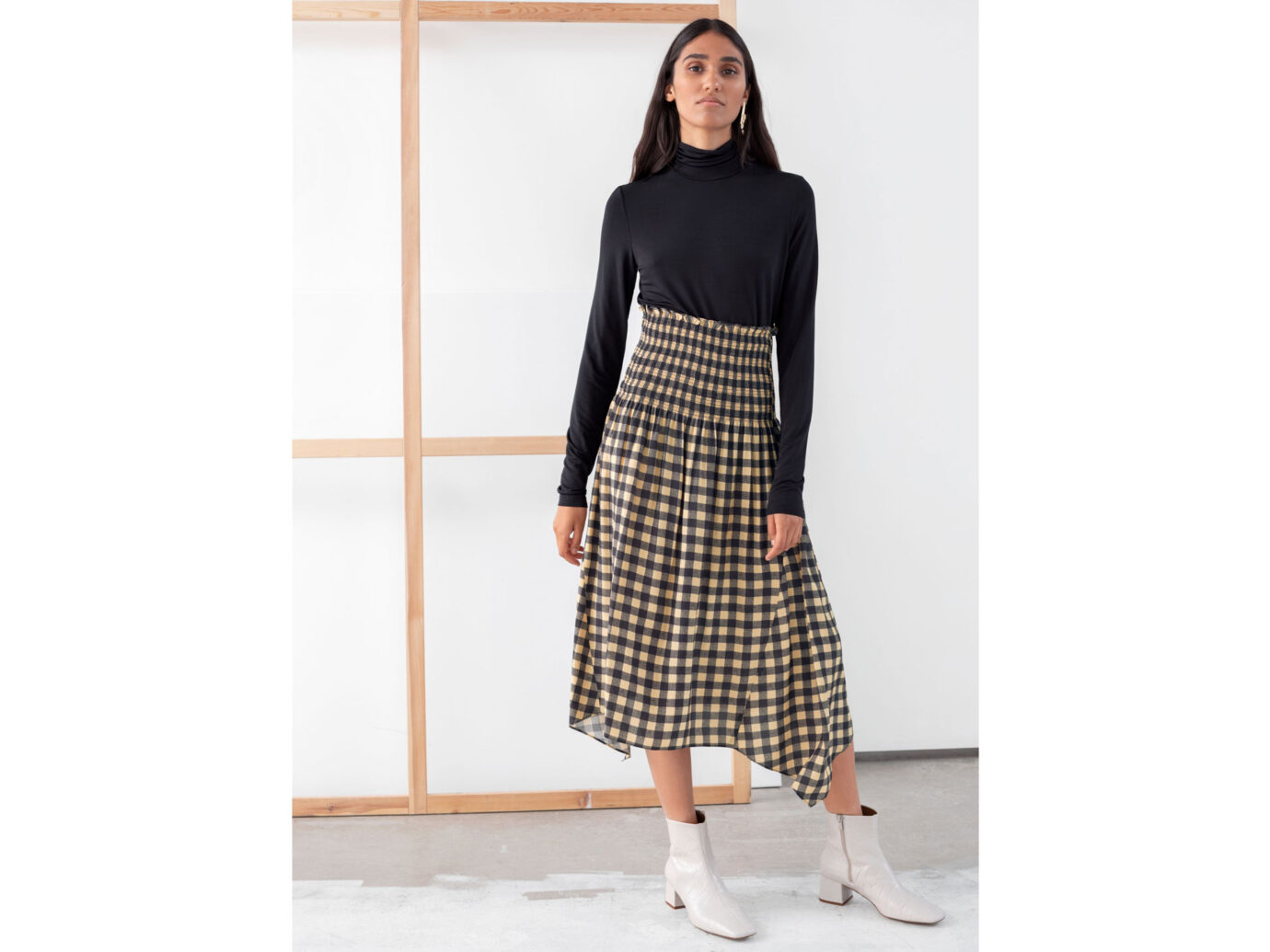 & Other Stories Smocked Waist Plaid Midi Skirt