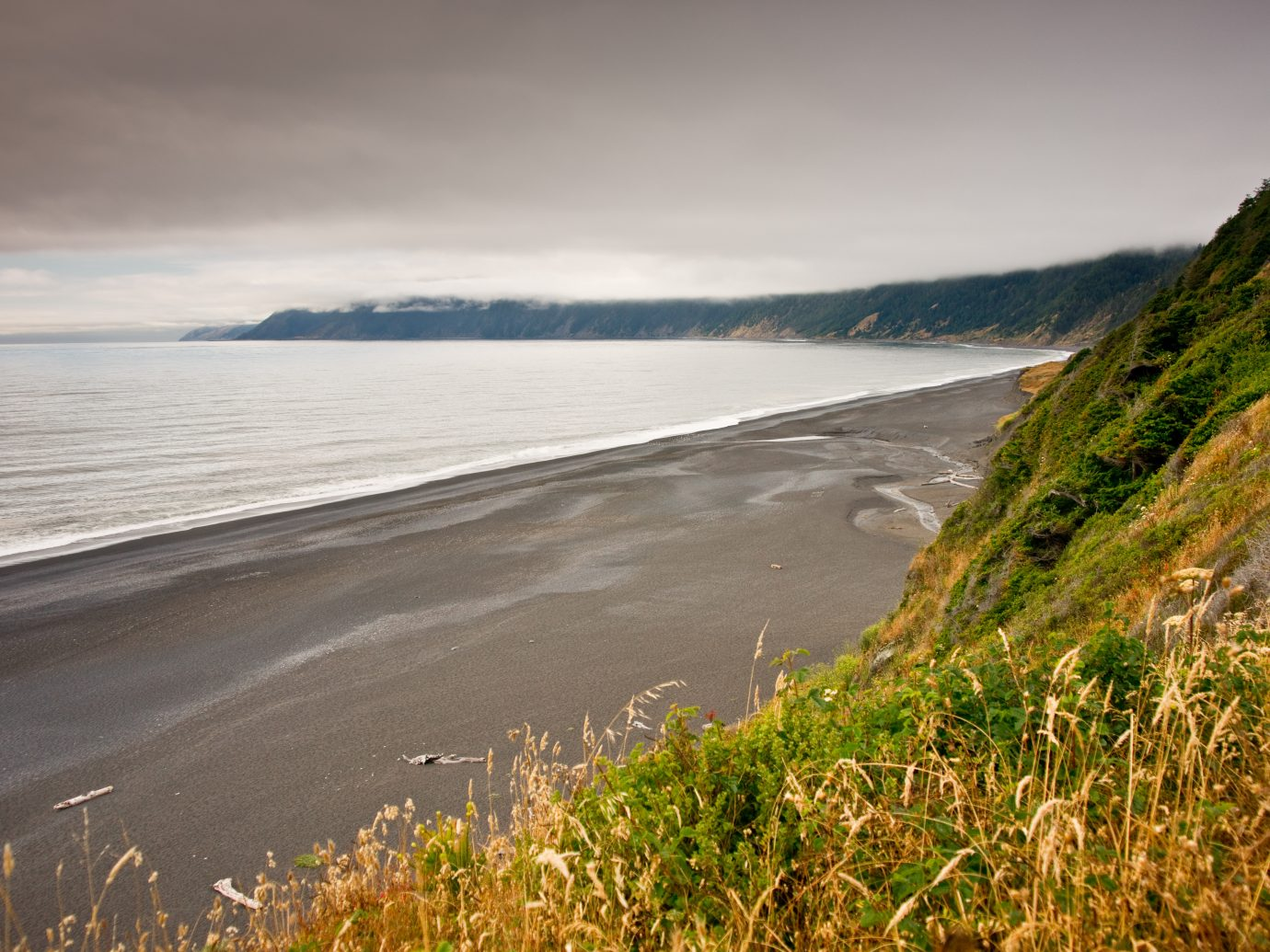 Evening light along California's Lost Coast and black sand beach