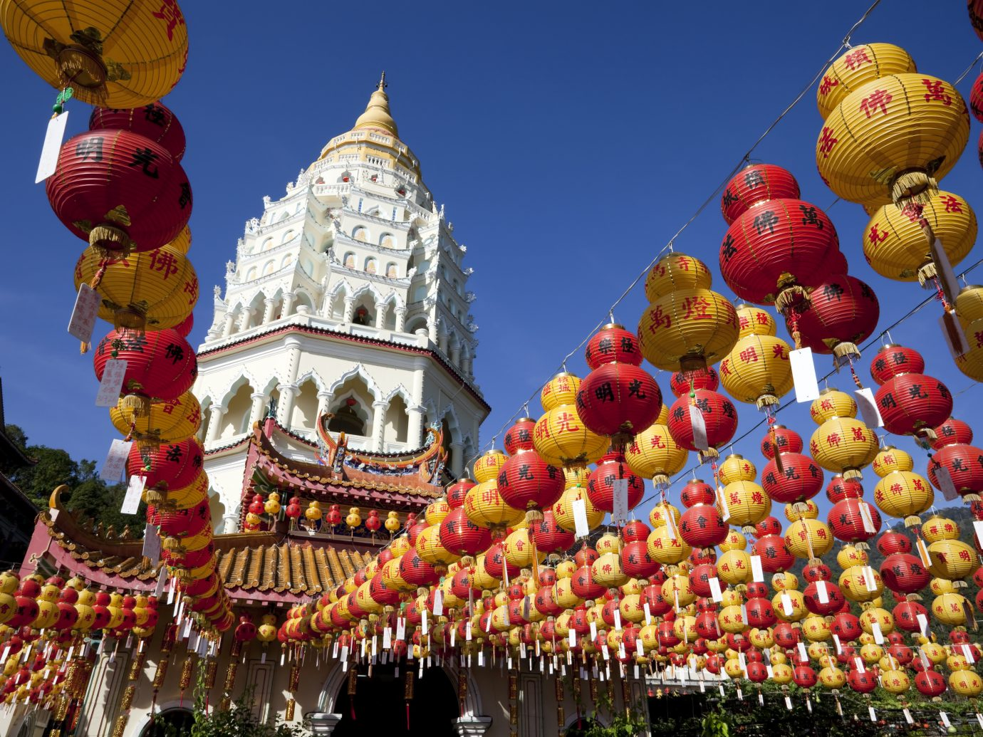 kek lok si chinese paper lanterns with new year greeting during the chinese new year holidays in penang island malaysia