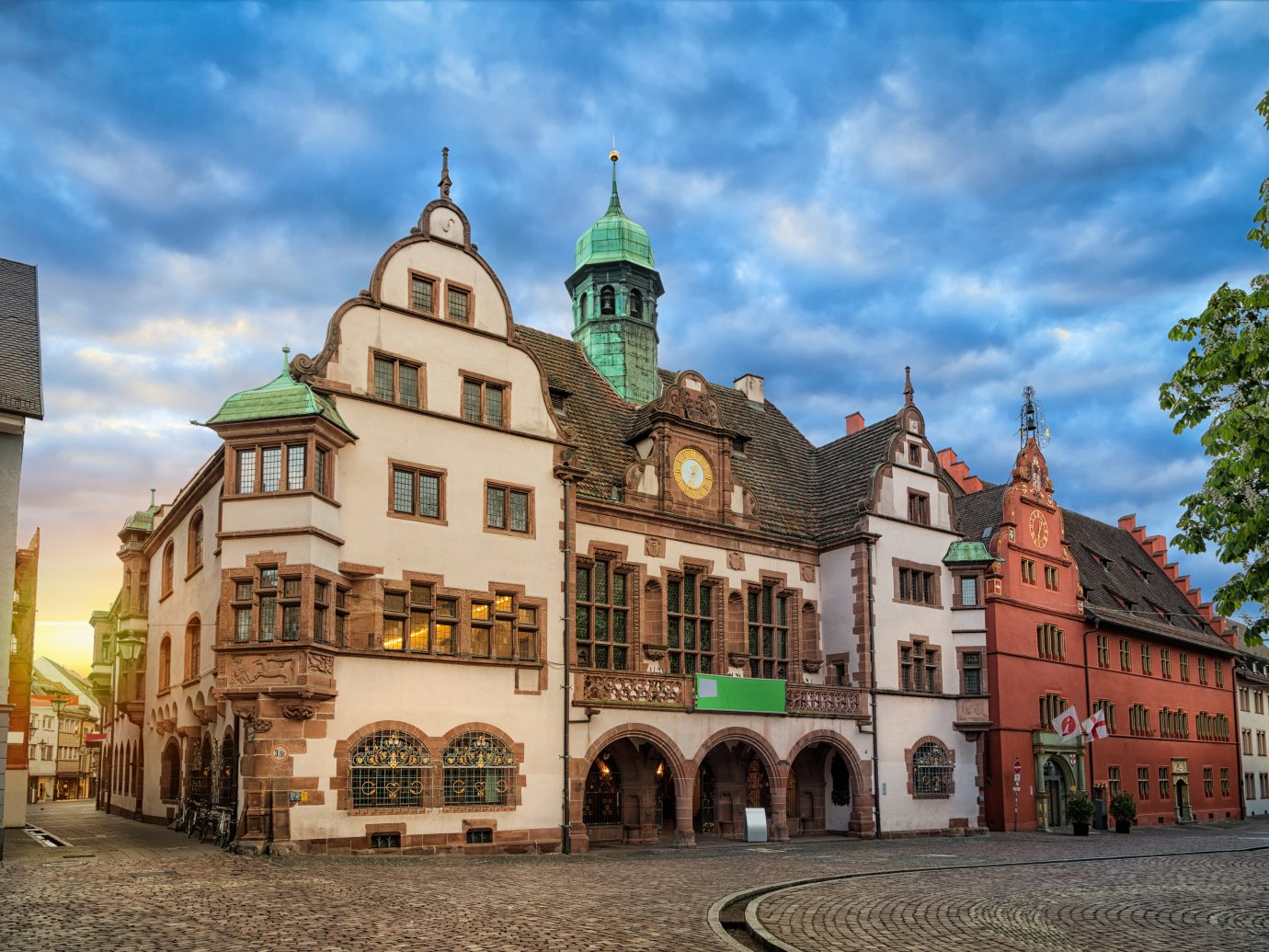 Old Town Hall (Altes Rathaus) on sunrise in Freiburg im Breisgau, Baden-Wurttemberg, Germany