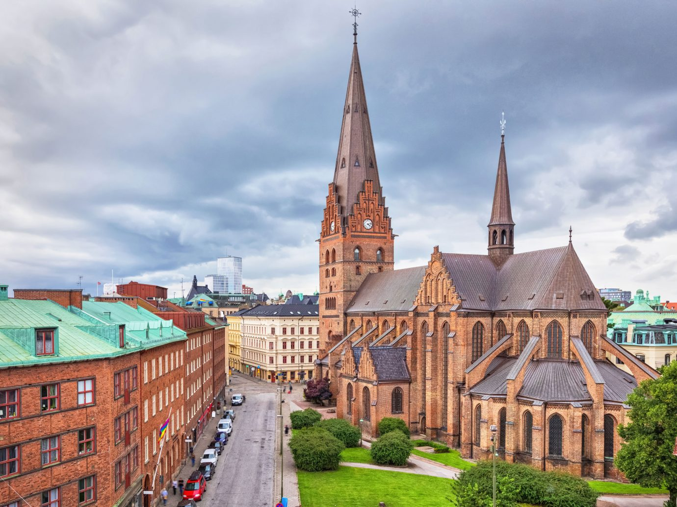 Street and church in Malmo, Sweden