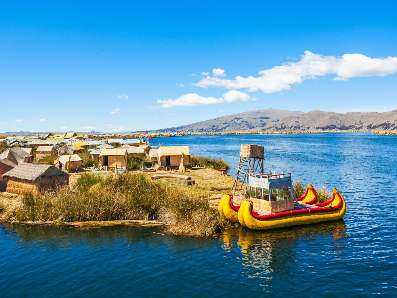 Uros floating island near Puno city, Peru