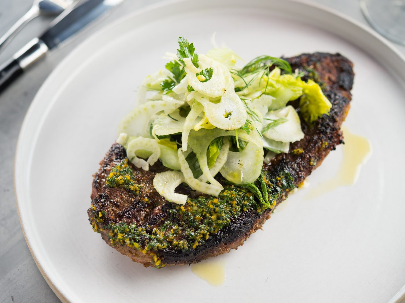 Lamb Leg Steak, Roman Spices, Fennel, Celery