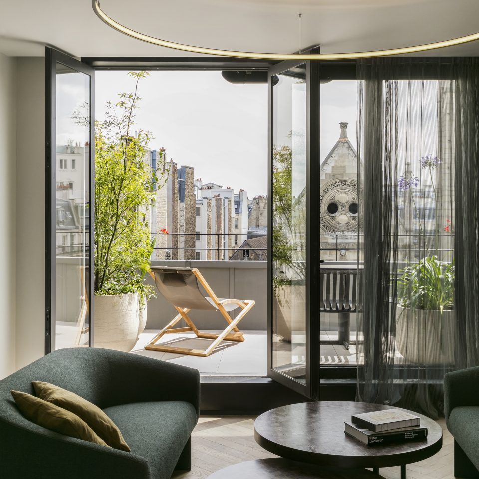 Penthouse suite with open balcony space at Hotel National des Arts et Métiers