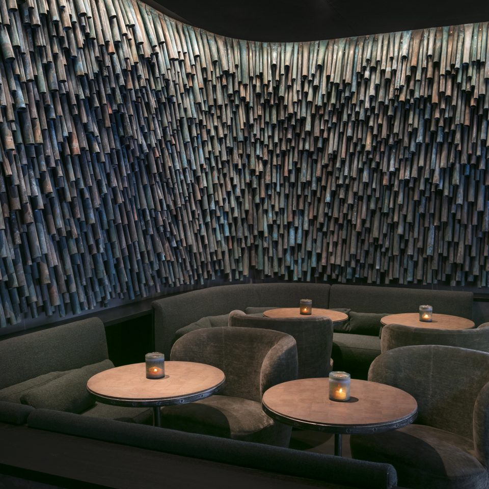 Interior of the restaurant with funky walls at Hotel National des Arts et Métiers