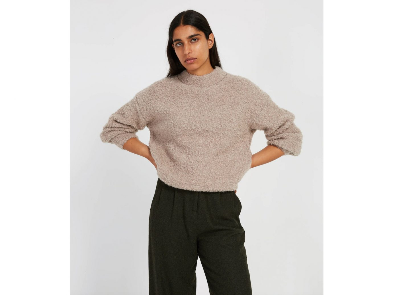 Sweater: Frank and Oak Fuzzy Bouclé Crewneck