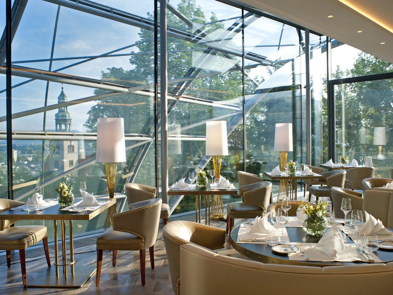the dining room at Schloss Mönchstein Hotel in Salzburg, Austria