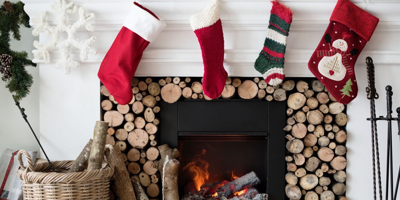 Christmas stockings hanging by the fireplace