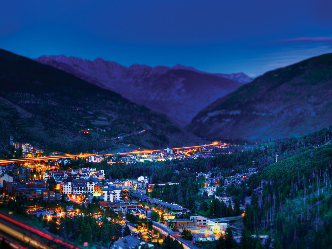 View of Vail Colorado at night