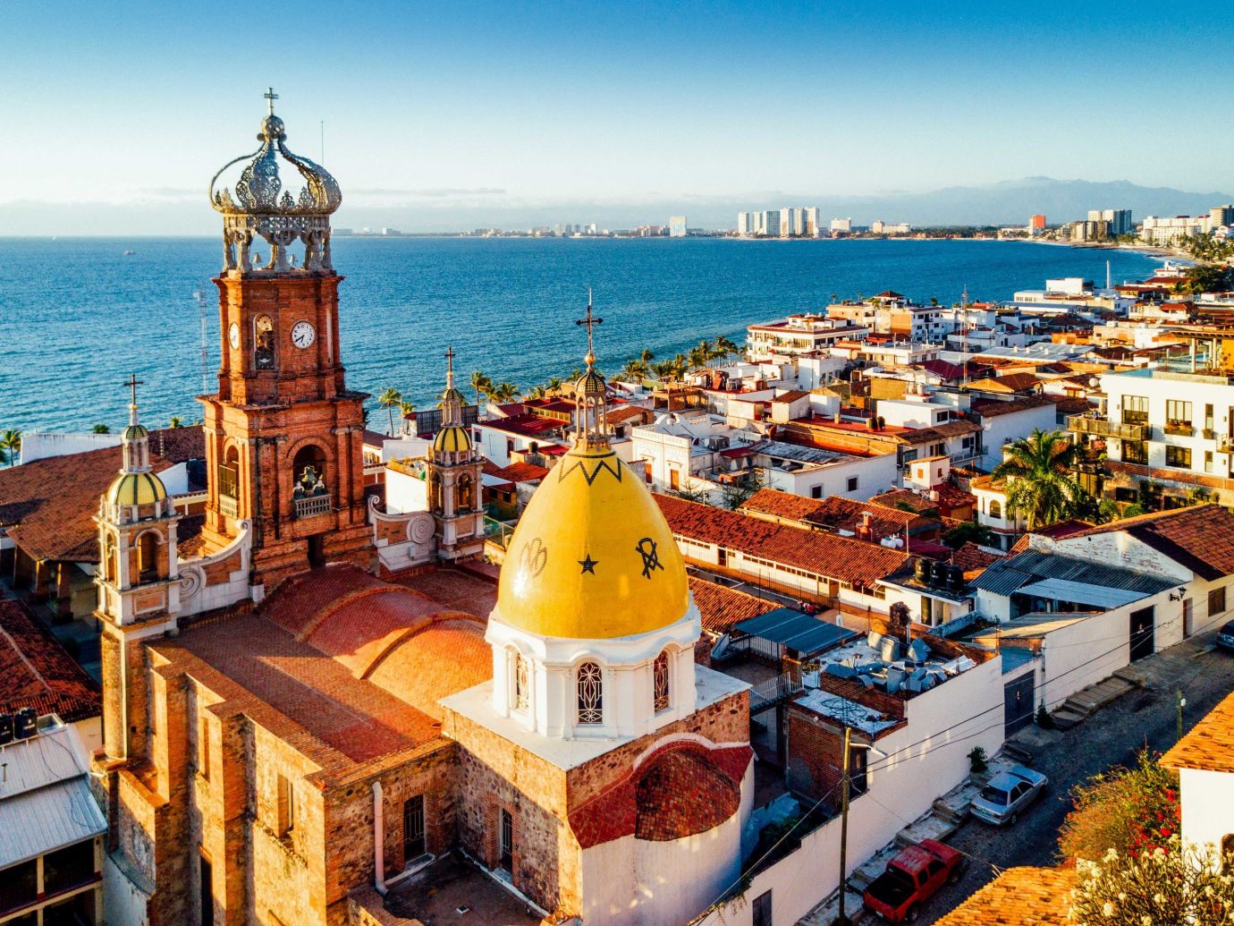 Aerial shot of the cityscape that is Puerto Vallarta