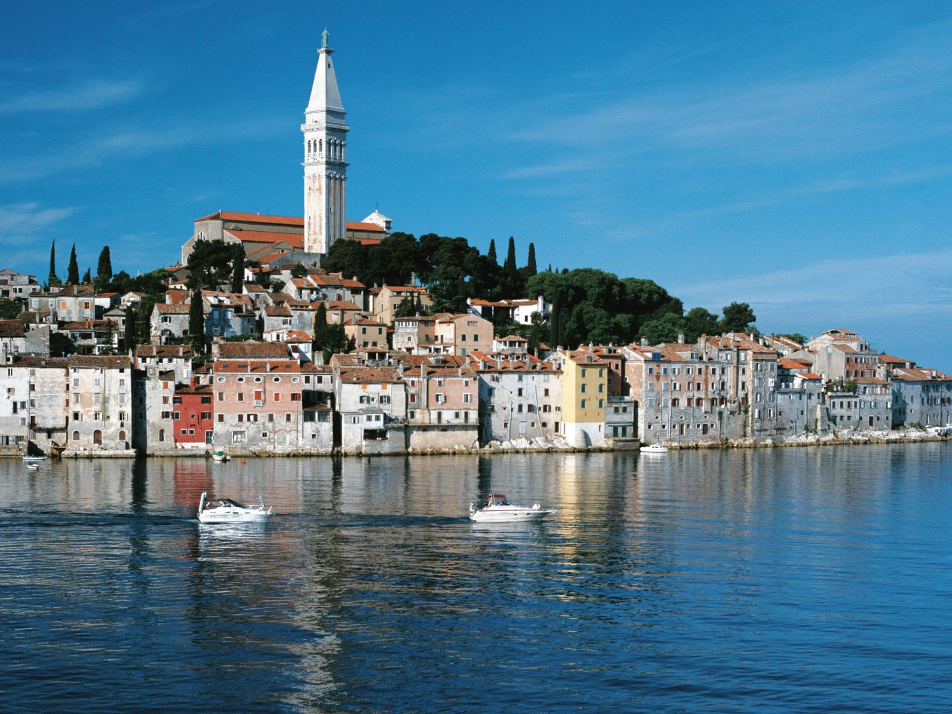 boats in the water in front of View of Rovinj, Croatia