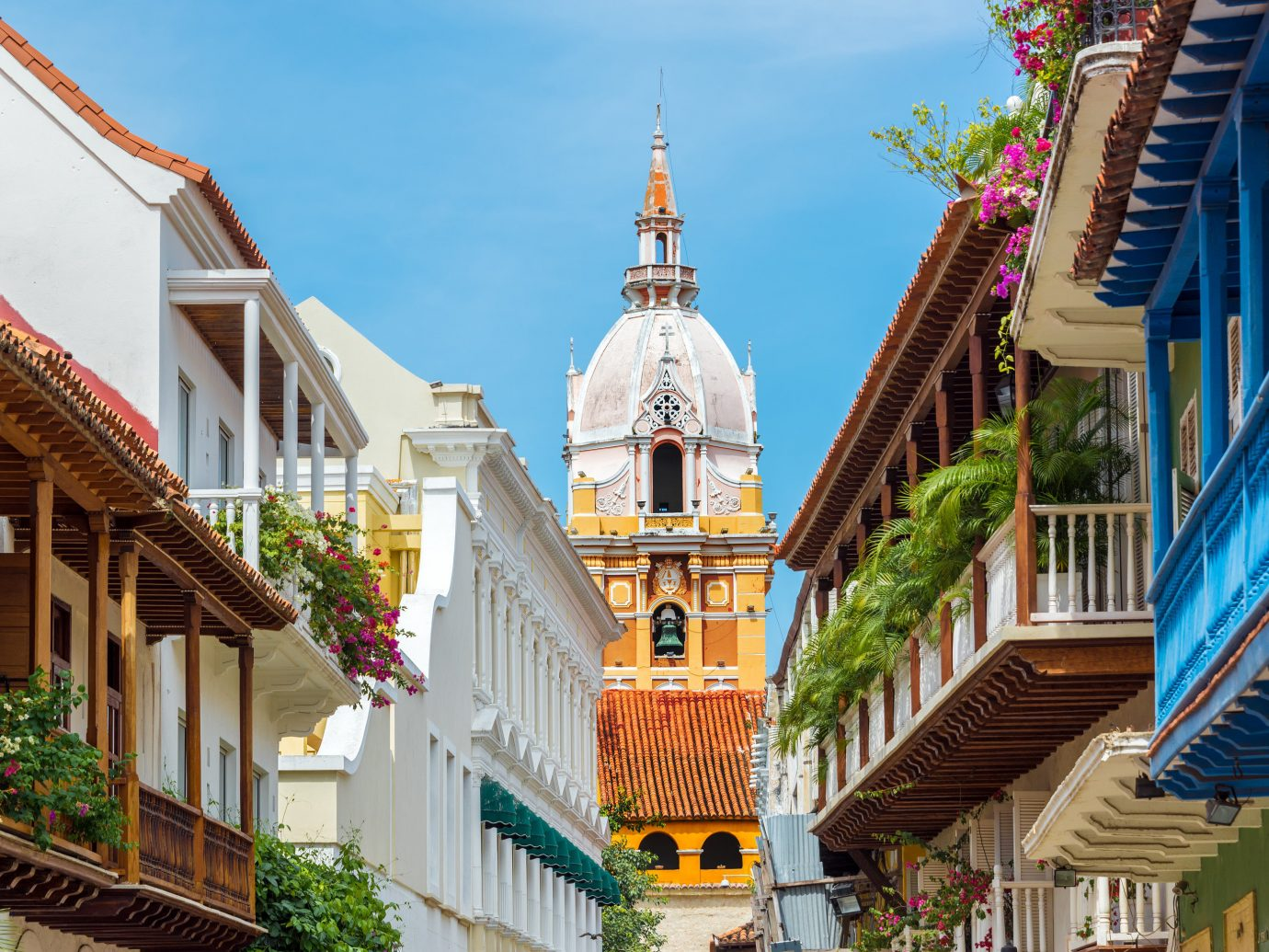 View of a charming street in Cartagena