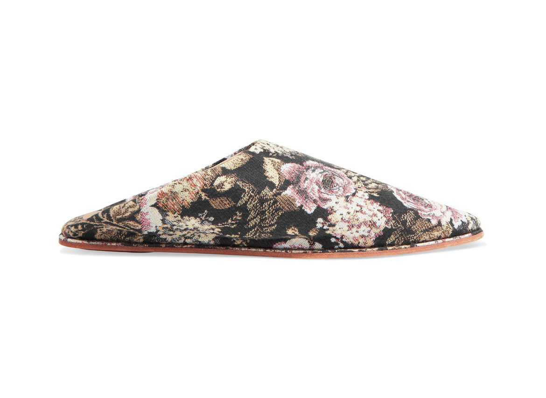 Nanushka Babou floral-jacquard slippers