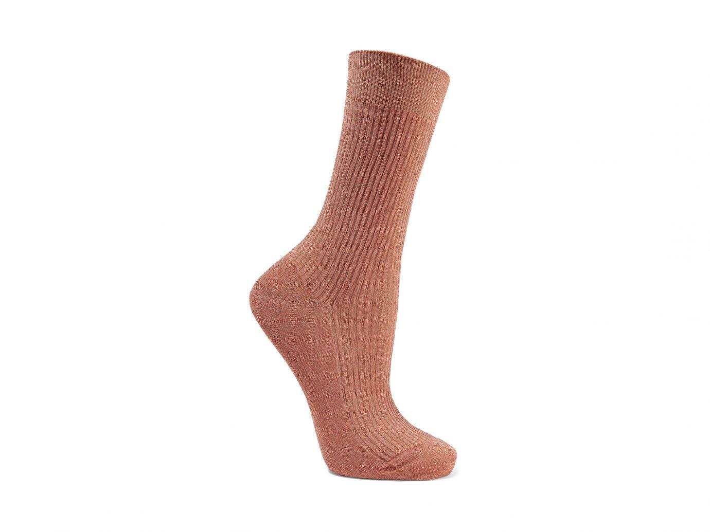Maria La Rosa Metallic Ribbed-Knit Socks