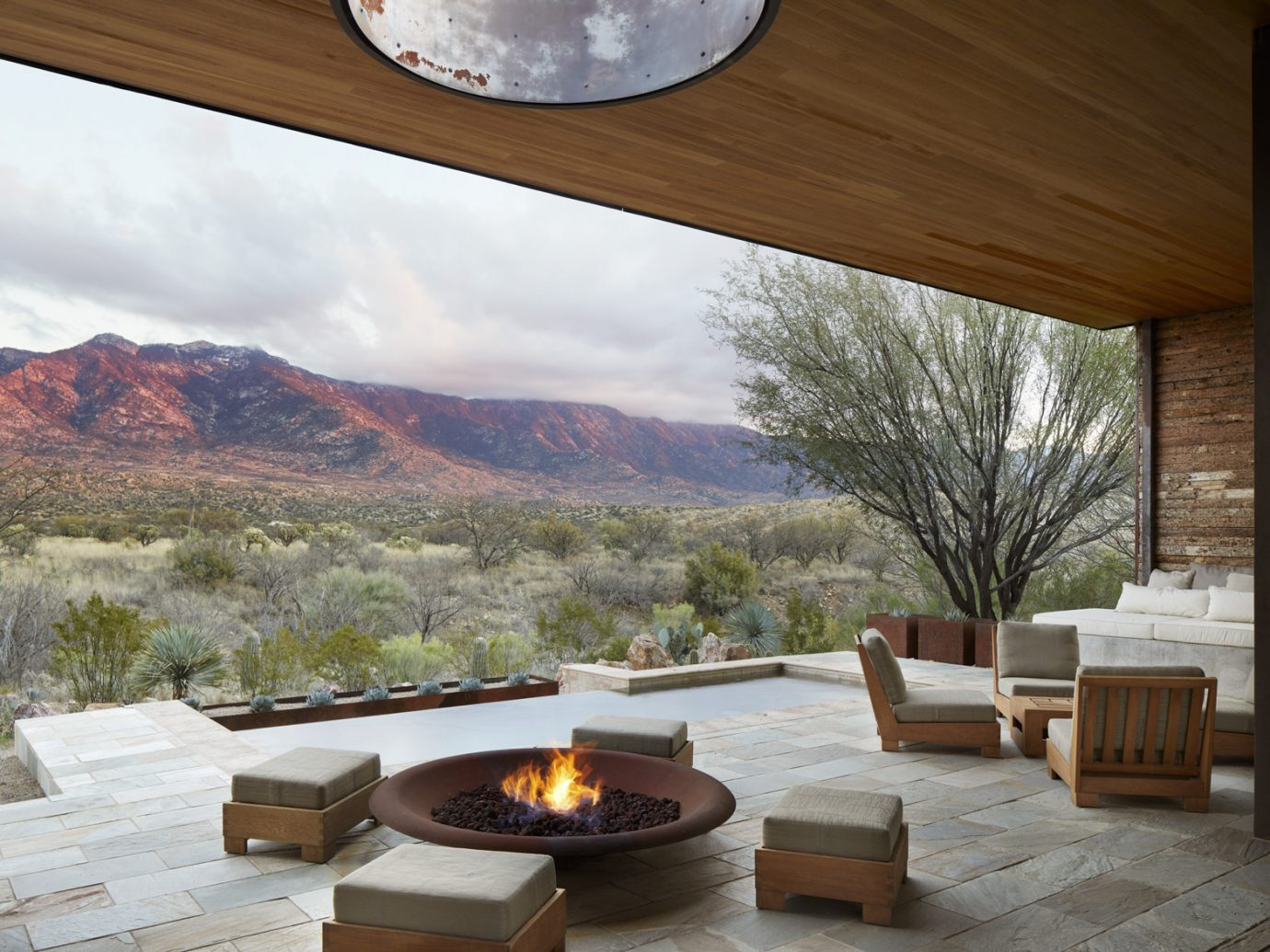 outdoor patio and pool at Miraval Resort and Spa, Tucson, AZ