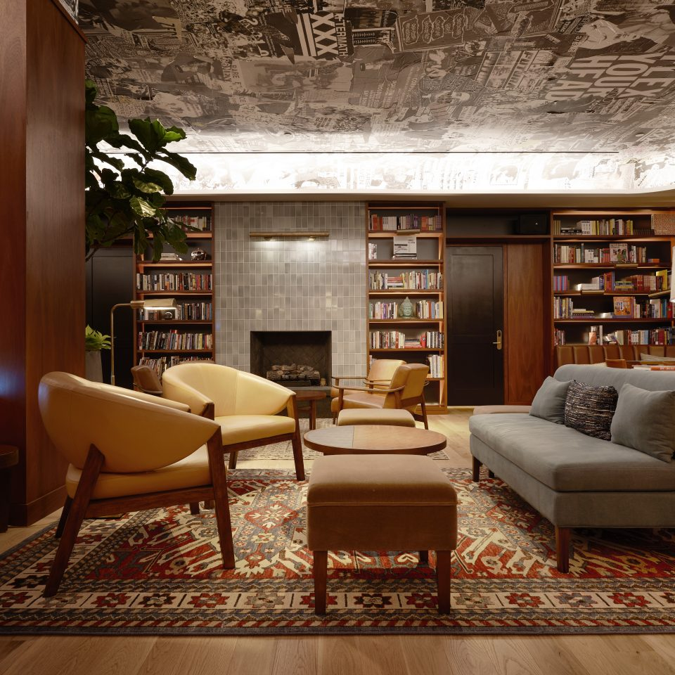 Sleek and fancy library with hip seating area