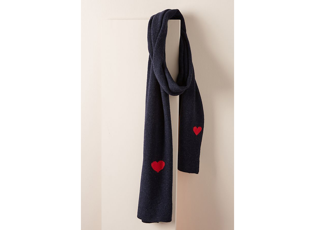 Kitted in Cashmere x Anthropologie Heart to Heart Cashmere Scarf