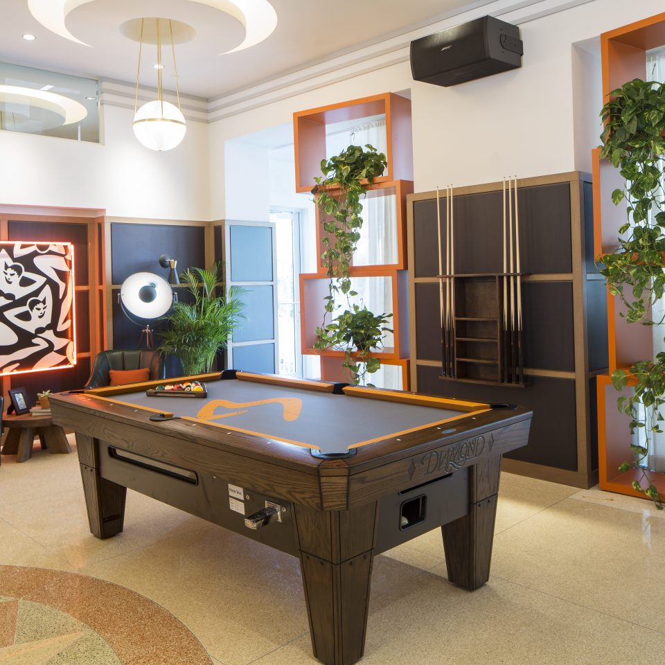 Common area with pool table and modern decor