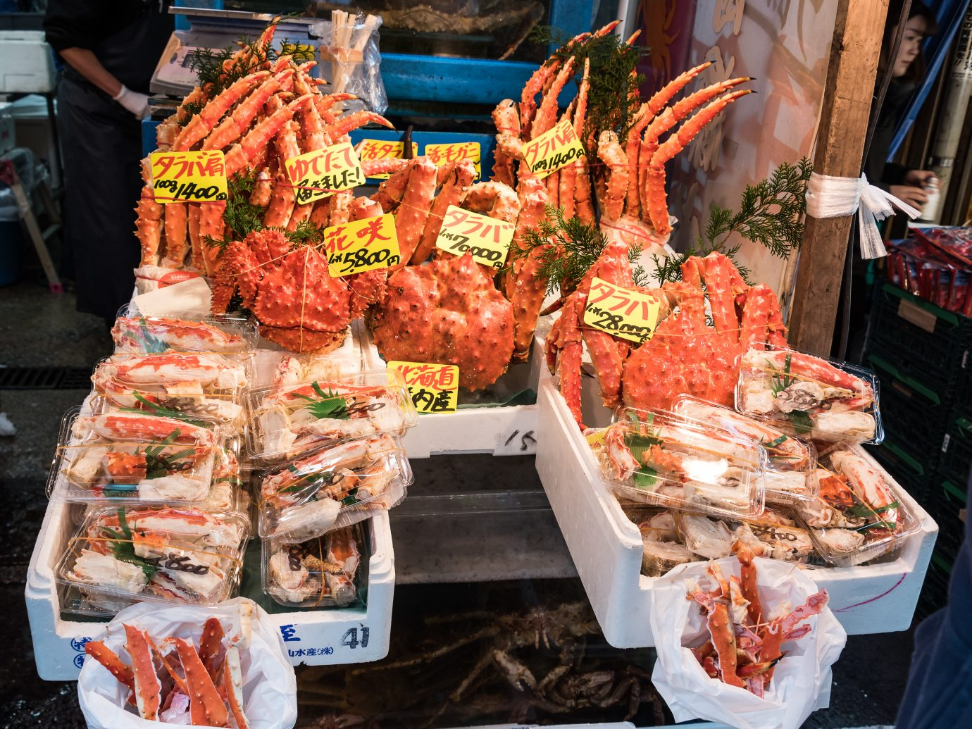Crabs for sale at the Tsukiji fish market.