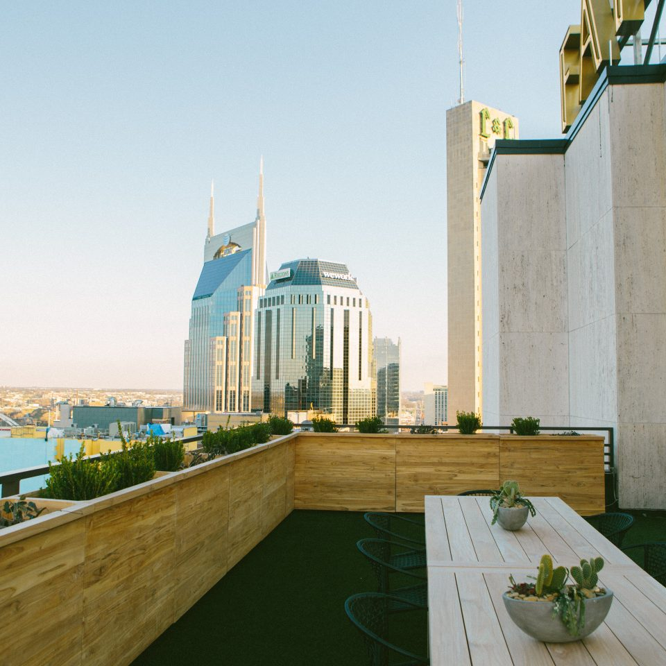 Rooftop space overlooking the city