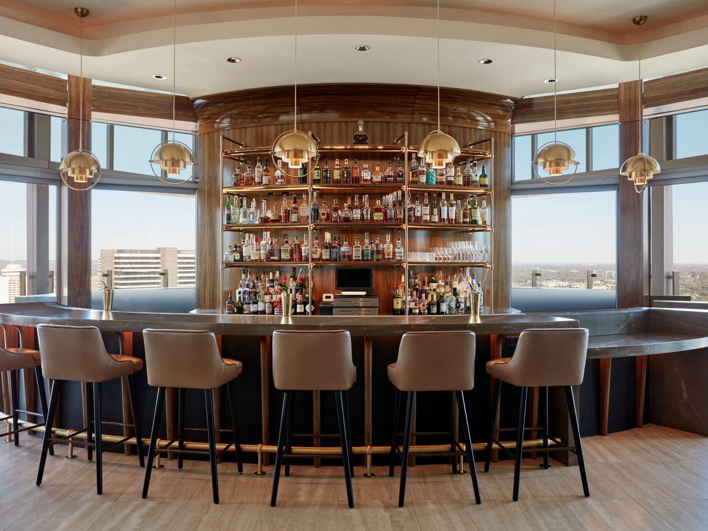 Round bar with view of cityscape