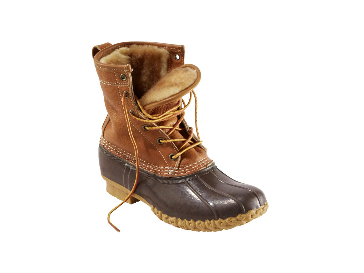 "LL Bean 8"" Tumbled-leather shearling lined bean Boot"