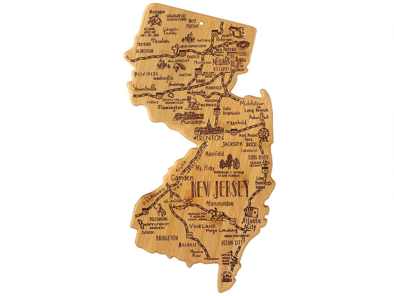 New Jersey shaped bamboo cutting board
