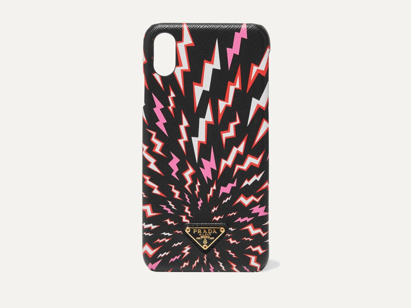 Prada Printed Textured-Leather iPhone XS Max Case