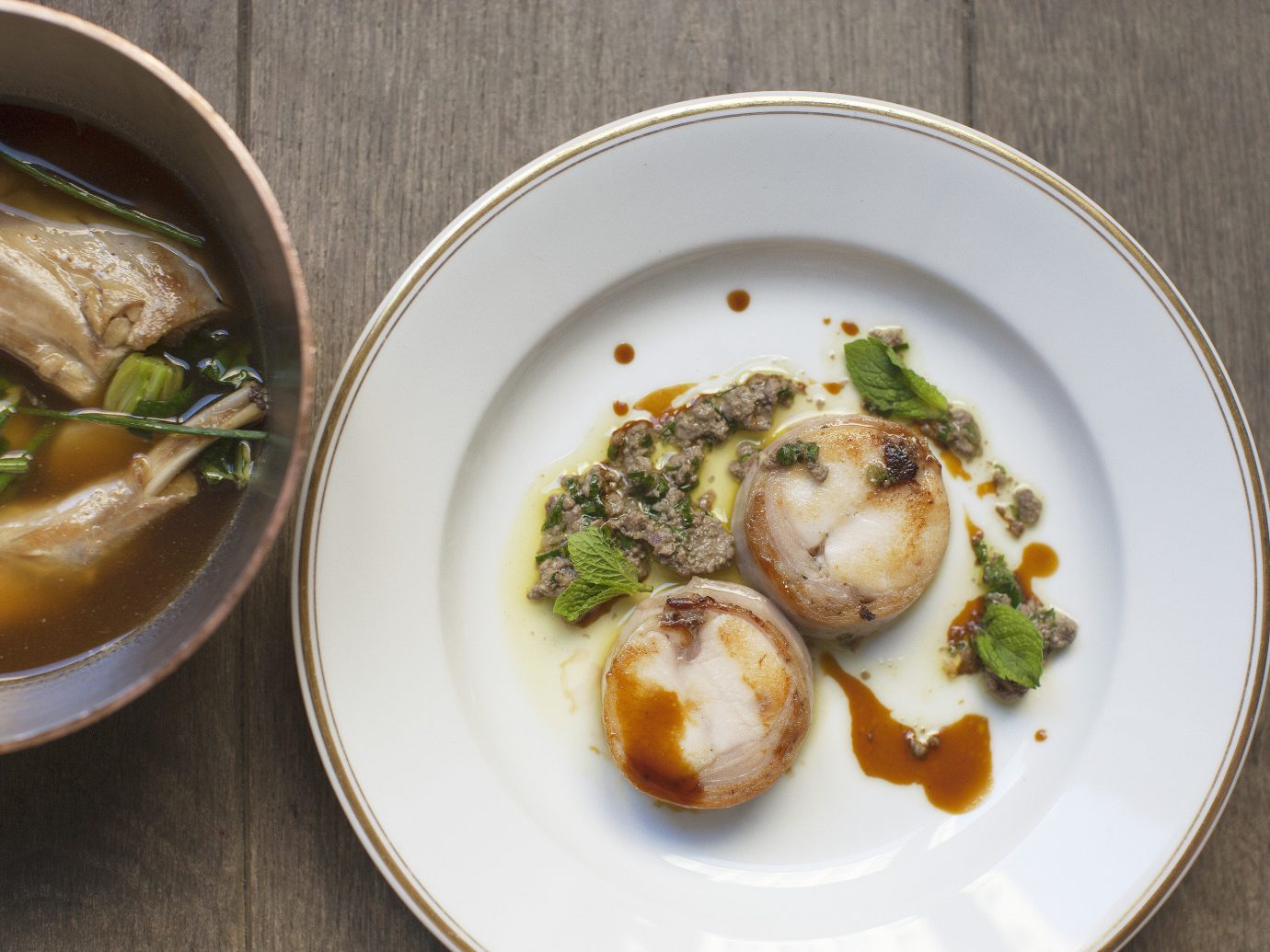 Dishes from Le Coucou in NYC