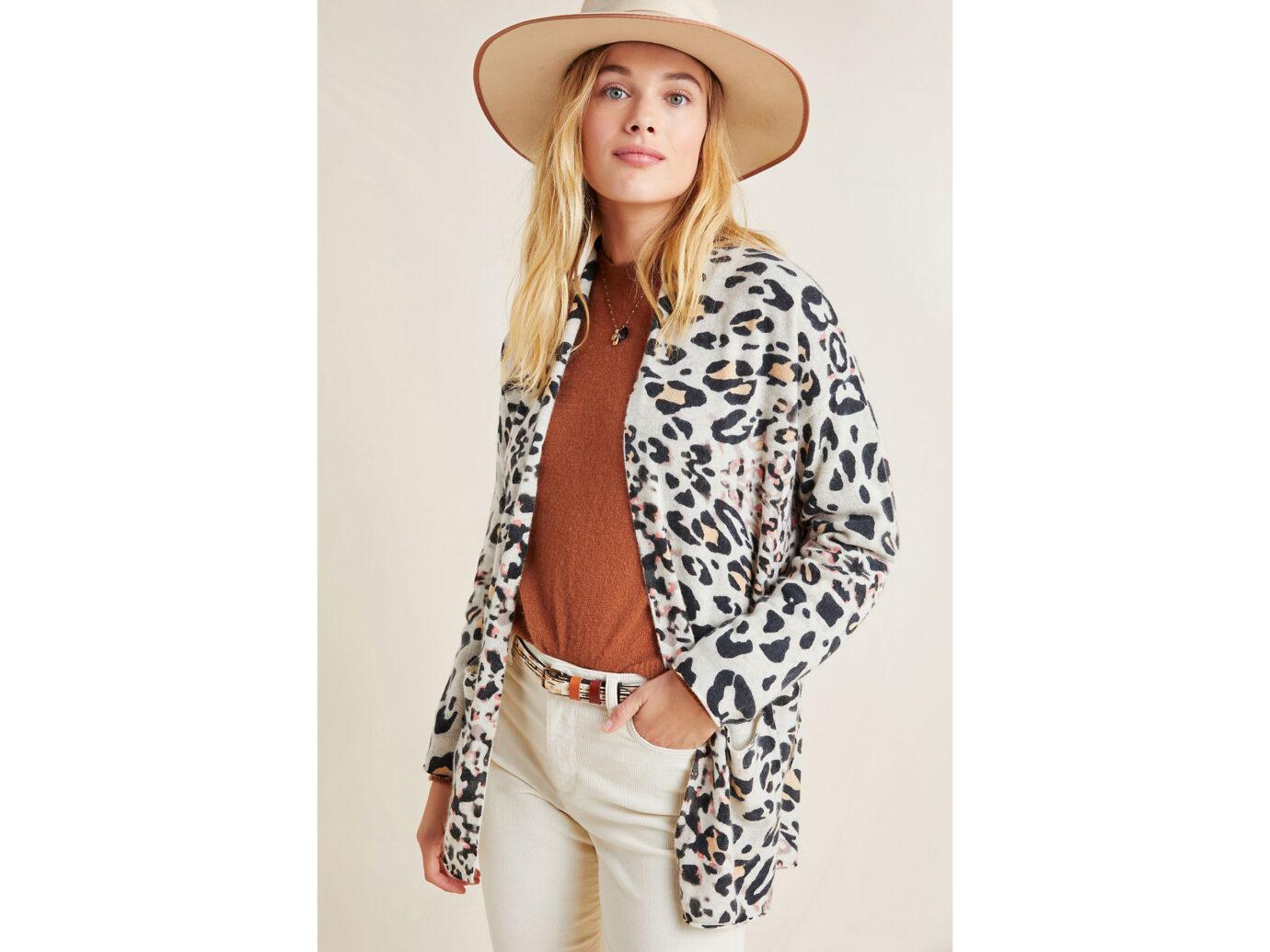 Brochu Walker Savy Leopard Cashmere Cardigan
