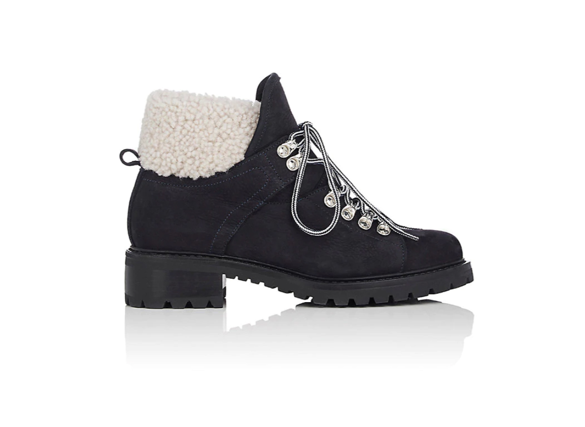 Barneys New York Suede & Shearling Lace-Up Ankle Boots
